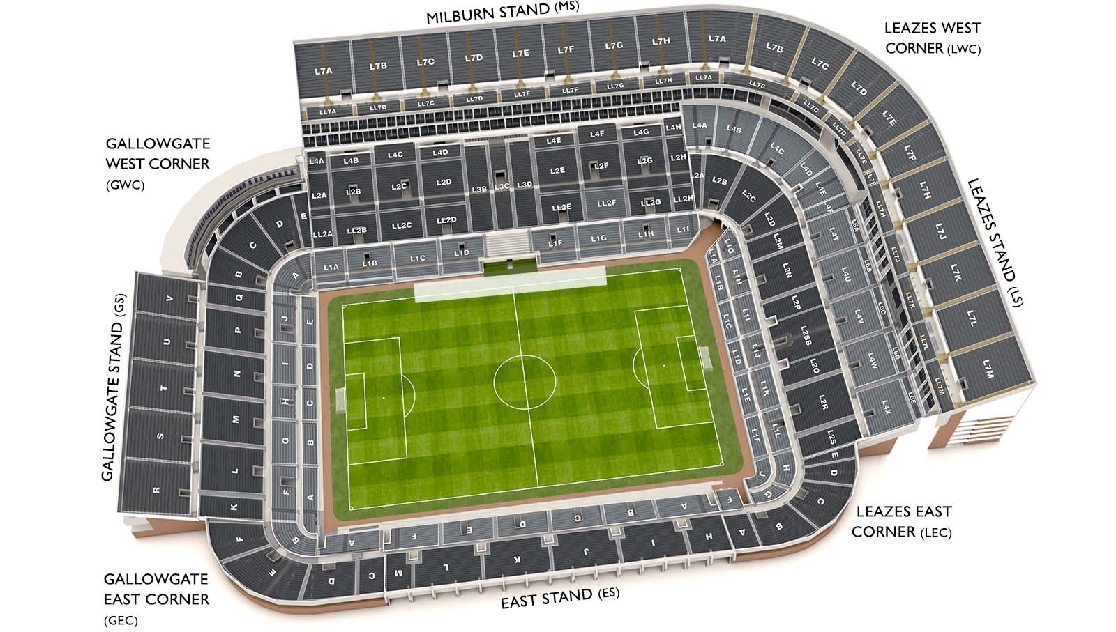 3D stadium plan of St. James' Park